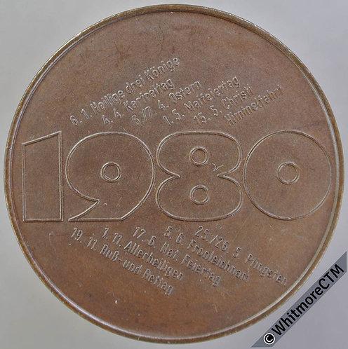 1980 Germany Porsche 936 Race dates Medal 40mm - Bronze