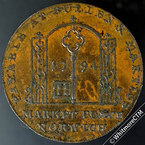 18th Century Halfpenny Norwich 19 1794 Bullen & Martins. Key in archway