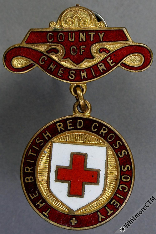 Cheshire British Red Cross Society Medal 25mm enamelled red & white. gilt bronze