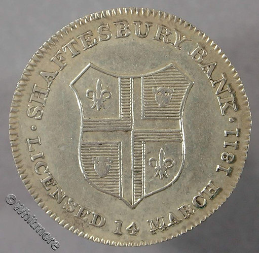 19th Century Silver Sixpence Shaftsbury 29 1811 Shaftsbury Bank & Arms. Large 14 - obv