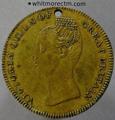 1838 Coronation of Queen Victoria Medal obv 24mm B1828 Brass Pierced