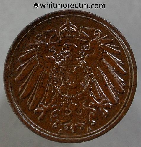 1902 Germany 1 Pfennig coin 1902A  Y3 obv