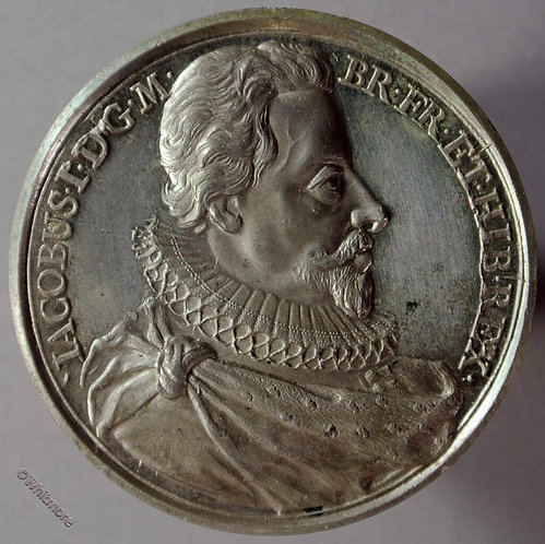 James I B1437-24 Bust R in ruff.  By Thomason after Dassier.  White metal
