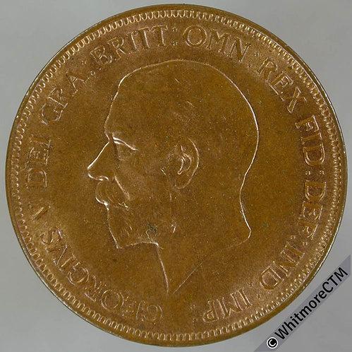 1930 British Bronze Penny George V 20% Luster