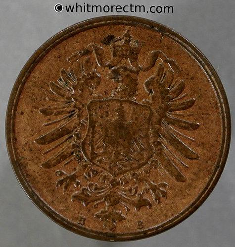1876 Germany 2 Pfennig coin 1876B  Y2
