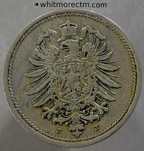 1876 Germany 10 Pfennig coin 1876J