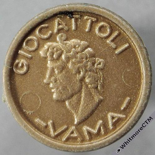 Italy Giocattoli Vama 5 over 1977, bronze colour plastic 19mm, Rogers 2284