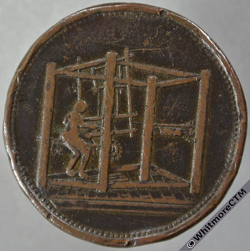 19th Century Penny Barnsley 11 Man working in loom Jackson & Listers Warehouse obv