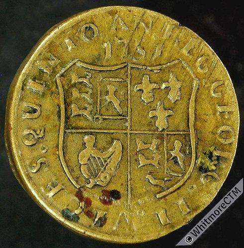 Coin Weight Ireland 19mm W2735 The Standard of Ireland D G Harp 1751 Rare