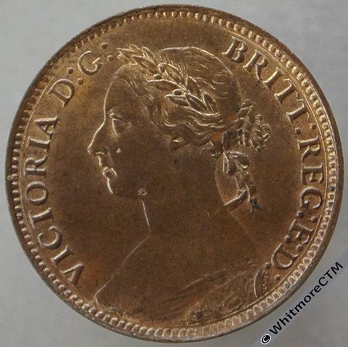 1891 British Bronze Farthing Victoria Bun Head. 70% Luster