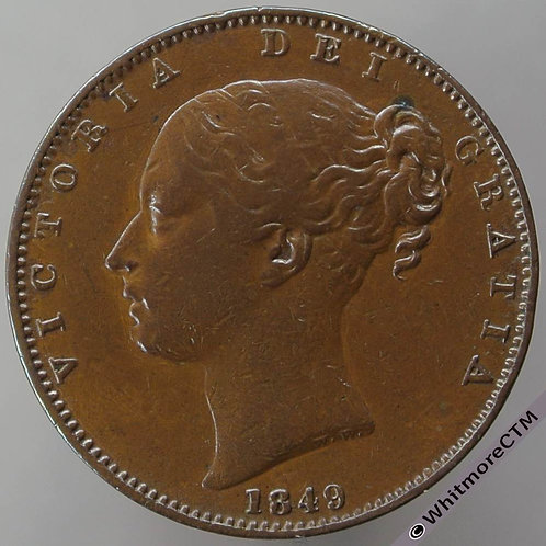 1849 British Copper Farthing coin Victoria Young Head - Rare