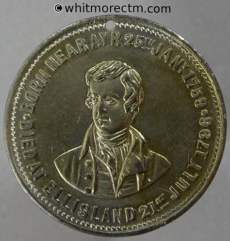 Dundee 1880 Unveiling of the Robert Burns statue Medal 27mm Silvered bronze