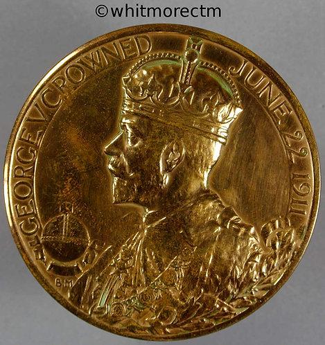 1911 Official issue Coronation Medal obv 51mm By Bertram Mackennal Gilt Bronze