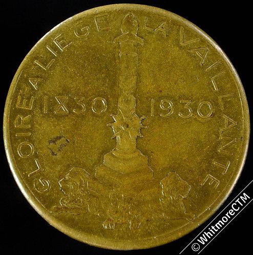 Belgium Liege 1930 Centenery of Kingdom Expo Medal 29mm Gilt bronze