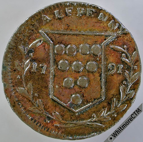 18th Century Halfpenny Kidderminster 23 1791 Santer. Woolpack / Shield.