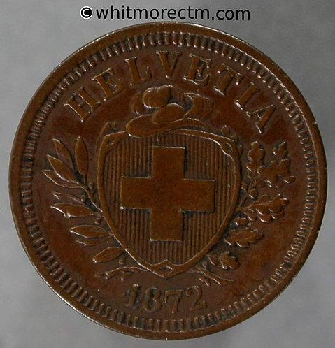 1872 Switzerland One Centime coin Y18