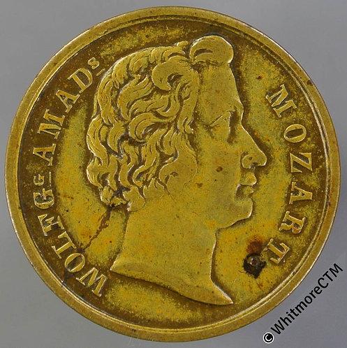 Jetton Austria 22mm Mozart. Head R. / Jeton in wreath. Brass