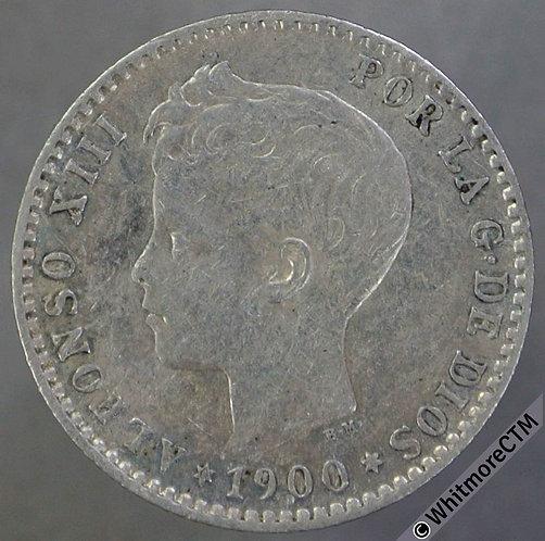 1900 Spain 50 Centimos Y87 - Silver