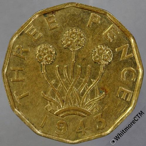 1943 British Threepence Brass George VI