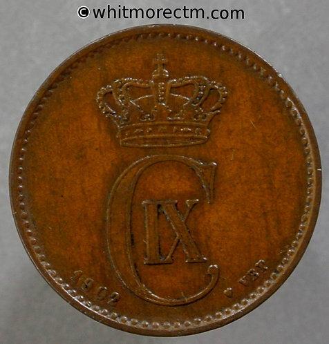 1902 Denmark 2 Ǿre coin