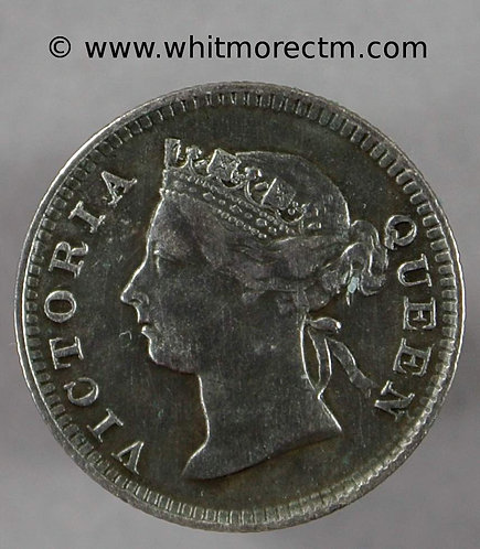 1899 Straits Settlements Y13 5 Cents coin