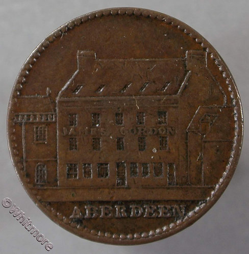 Unofficial Farthing Aberdeen 6970 obv View of building with sign JAMES GORDON