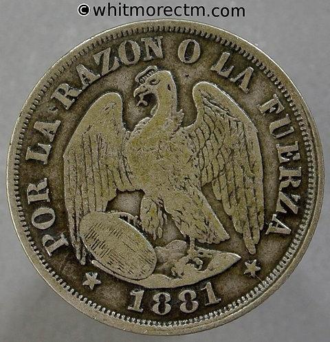1881 Chile 20 Centavos coin Y16b Silver