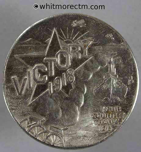 1918 USA Good Luck Victory Token 32mm Horseshoe airplane ship - Brill Brothers