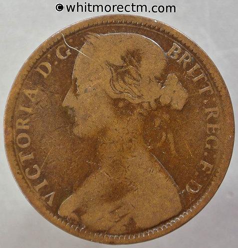 1862 British Bronze Penny Victoria Bun Head - F39 6+G