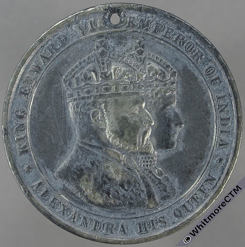 Isle of Man. Douglas 1902 Coronation Medal 38mm BHM3751 White metal.