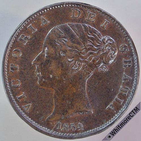 1854 British Copper Halfpenny - Victoria Young Head