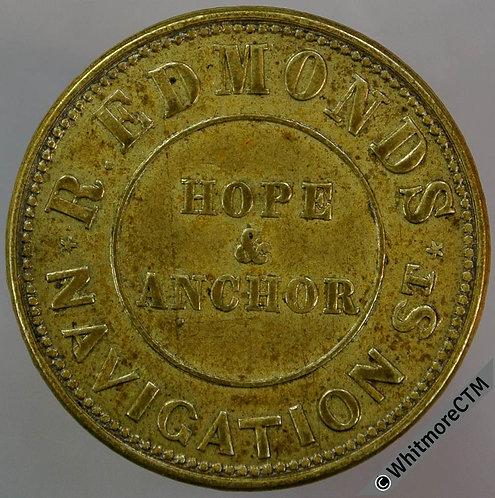 Birmingham Hope & Anchor Navigation Refreshment Token W2204 2½D Fine ale