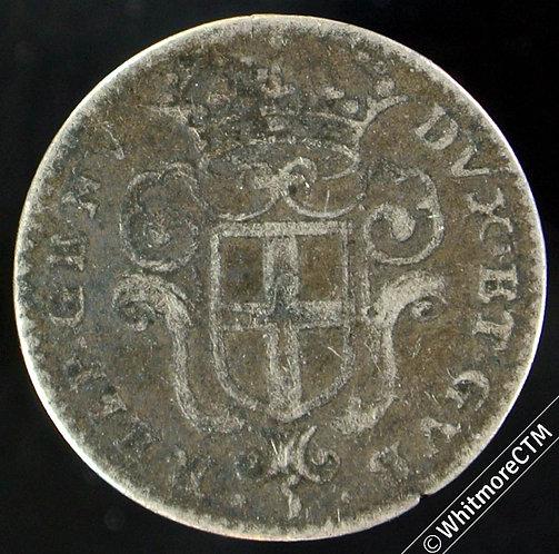 Italy Genoa State 5 Soldi - Shield / St John 1675