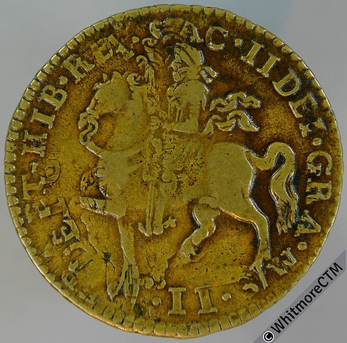 1690 James II Gunmoney. Overstruck on 1698 large halfcrown