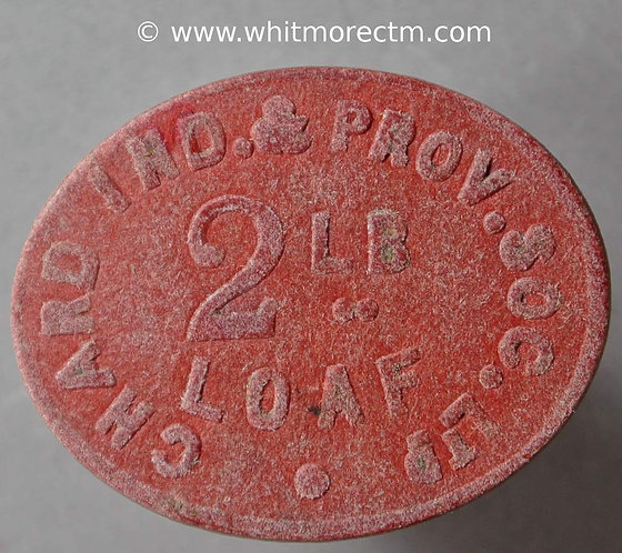 Co-Operative Society Token Chard 29x23mm Ind & Prov 2lb loaf Oval red fibre