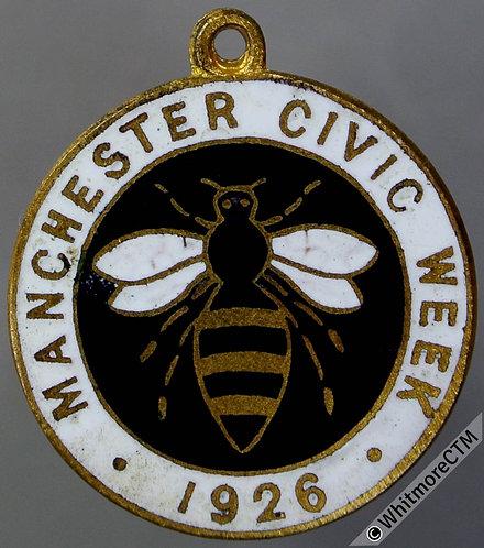 Manchester 1926 Civic Week - Bee depicted Medal 23mm Uniface gilt bronze enamel