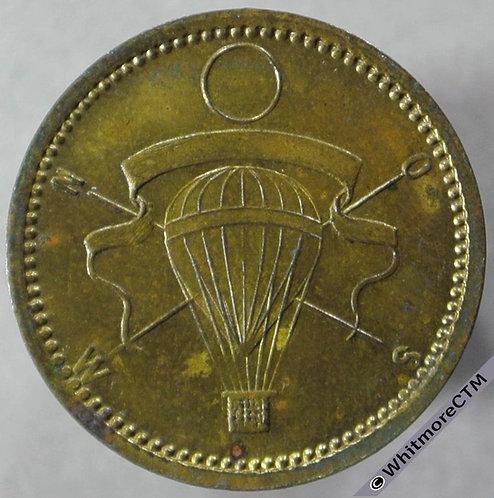 Jetton Germany air Balloon over compass points as Malpas 439 - 19mm Gilt Brass