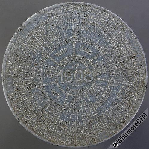 1908 Calendar Medal Matchless Metal Polish 38mm Lighting up times.  Aluminium.