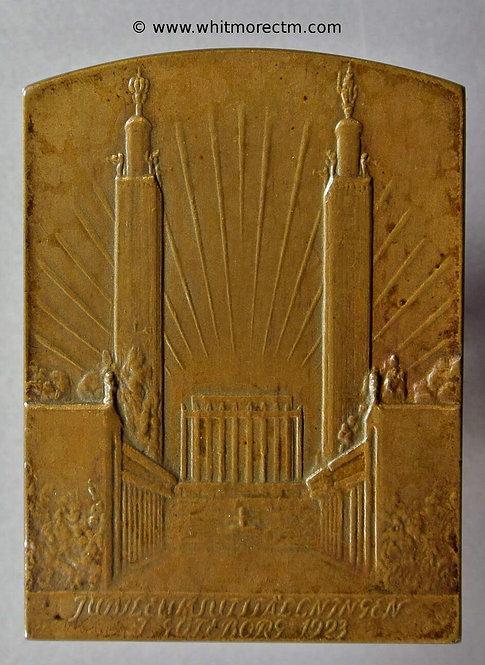 1923 Sweden Jubilee Exhibition Gothenburg plaque 46x34mm Oblong bronze.