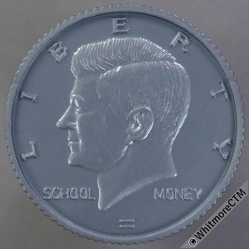 USA Toy Coin -  32mm Kennedy Half Dollar - School Money - Grey Plastic