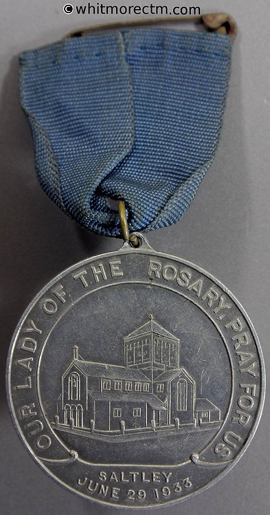 Saltley Birmingham 1933 Holy Rosary Church Medal 51mm Aluminium with suspender