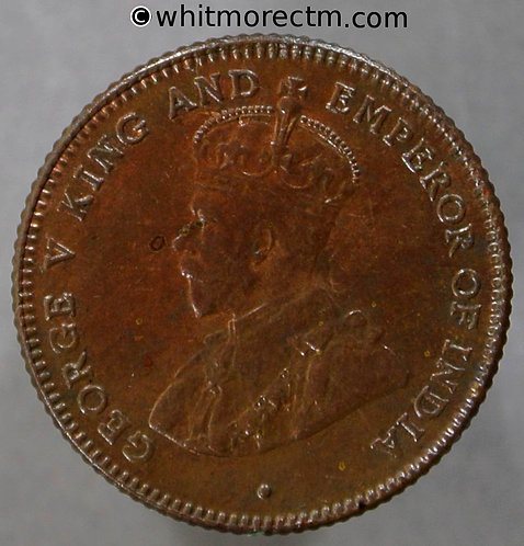 1916 Straits Settlements ¼ Cent coin obv - George V British Crown Colony