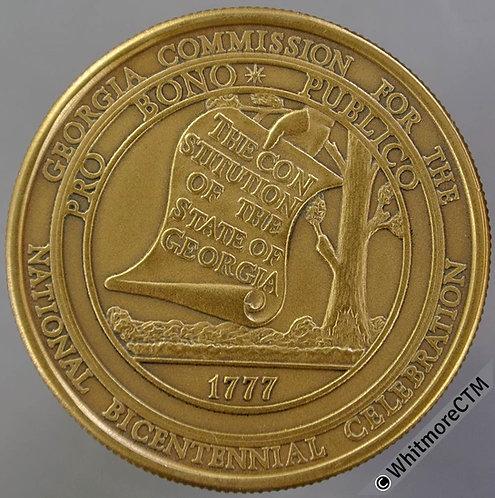 U.S.A 1976 State of Georgia Independence Bicentennial Medal 38mm Bronze