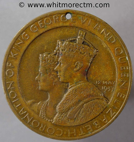 Dudley 1937 Coronation Medal 35mm George VI WE7180C Pierced Brass