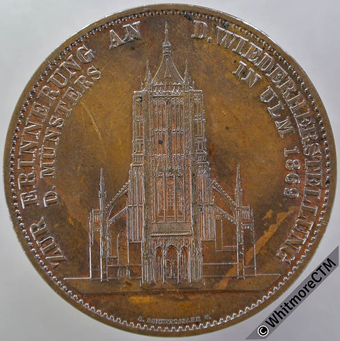 1890 Germany Completion of Ulm Cathedral Medal 41mm - Restoration of 1869 Bronze