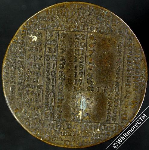 Calendar 1784 James Davies Birmingham 38mm - Bronze