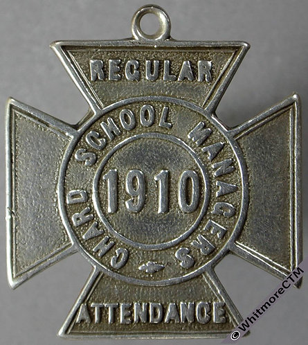 Chard 1910 School Attendance Medal D361 27mm cross with suspender  Silver