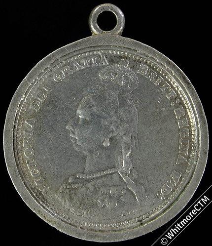 Engraved 1887 Jubilee Medal 25mm cast copy of Jubilee head shilling - silver