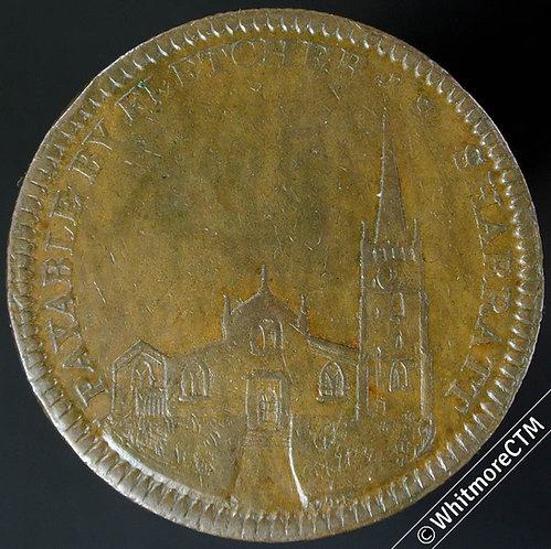 19th Century Penny Walsall 1158 1811 Fletcher & Sharratt - View of church