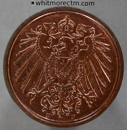 1904D Germany One Pfennig coin Y3 80% Luster - obv